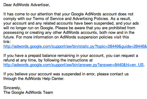 Google Adwords Suspended Account